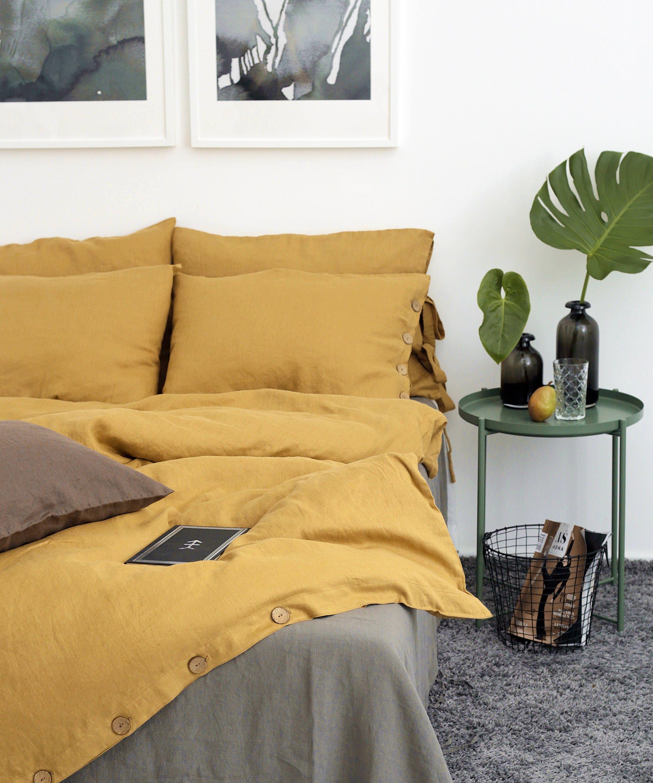 Linen Duvet Cover Mustard Color Duvet Linen Quilts