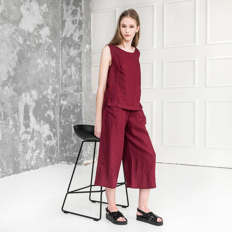Linen Set Linen Pants And Tank Top Elegant Suit Women Linen Set