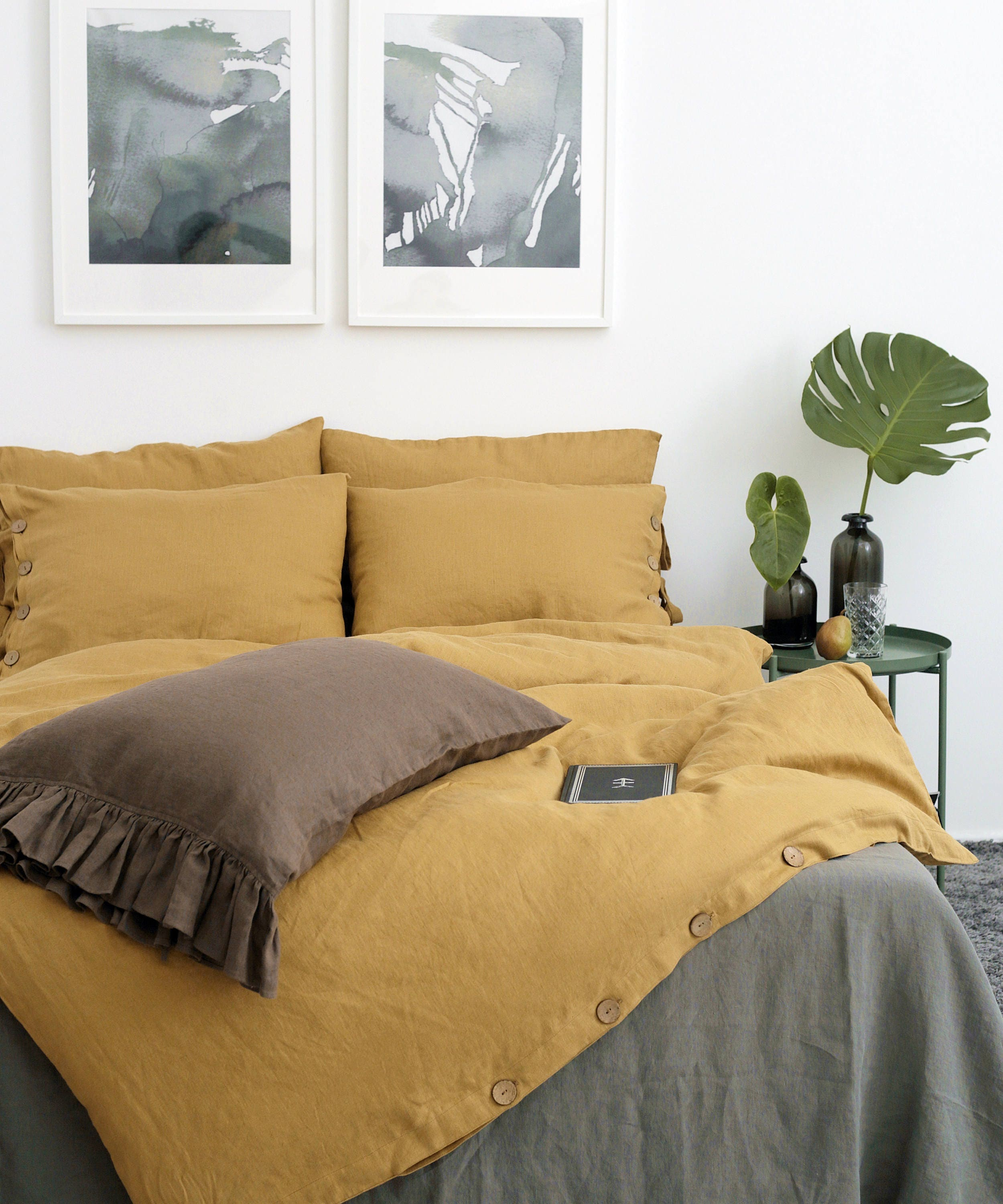 Linen Duvet Cover Mustard Color Duvet Linen Quilts