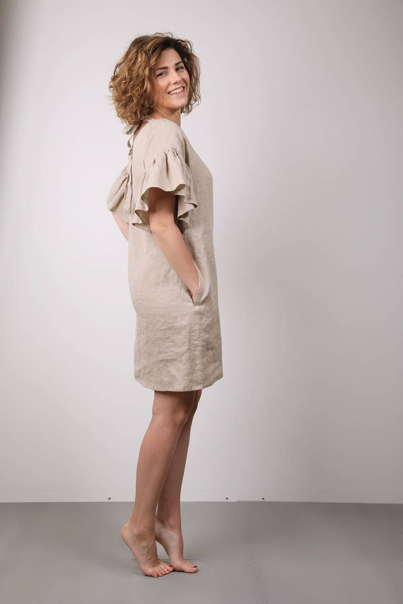 d412036fce2 Modern linen tunic dress with ruffles   V neck dress for