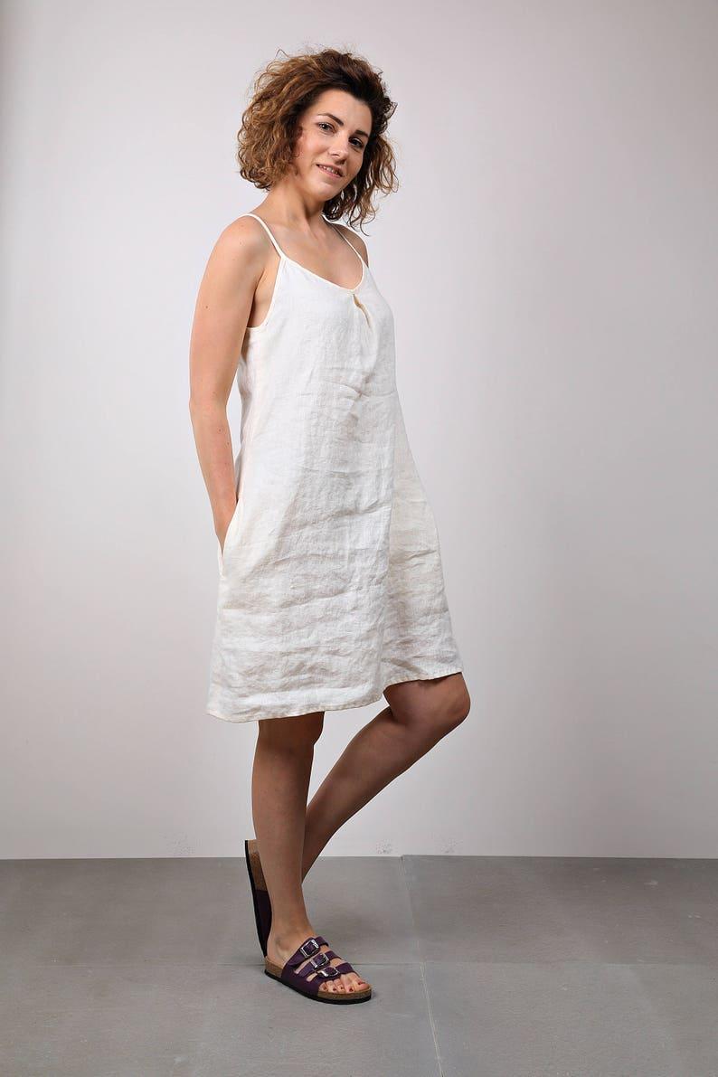 e04e631b98 Cream white linen leisure trend dress   Loose summer holiday
