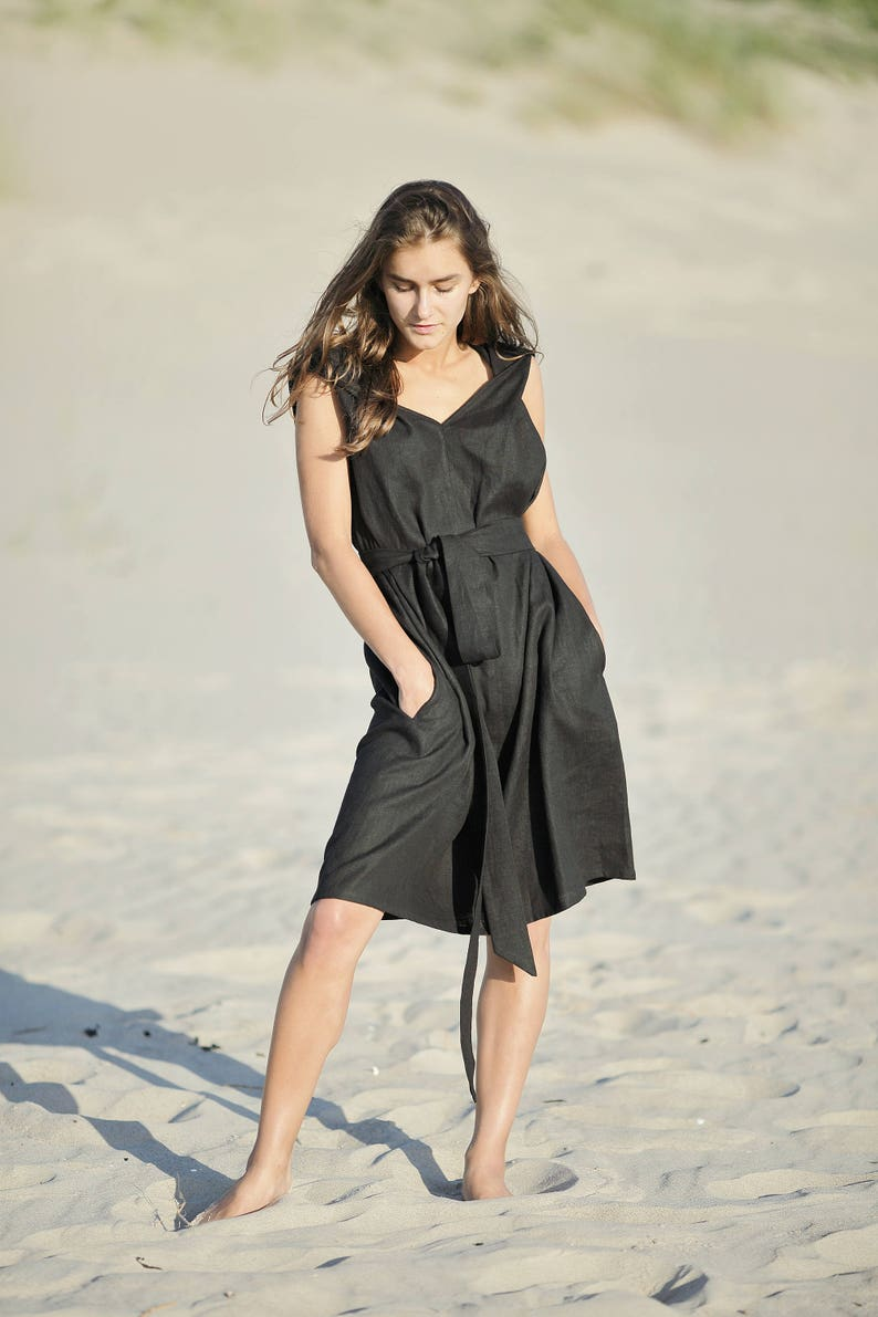 81affa4c5da Black linen dress   loose fit summer dress   sleeveless dress