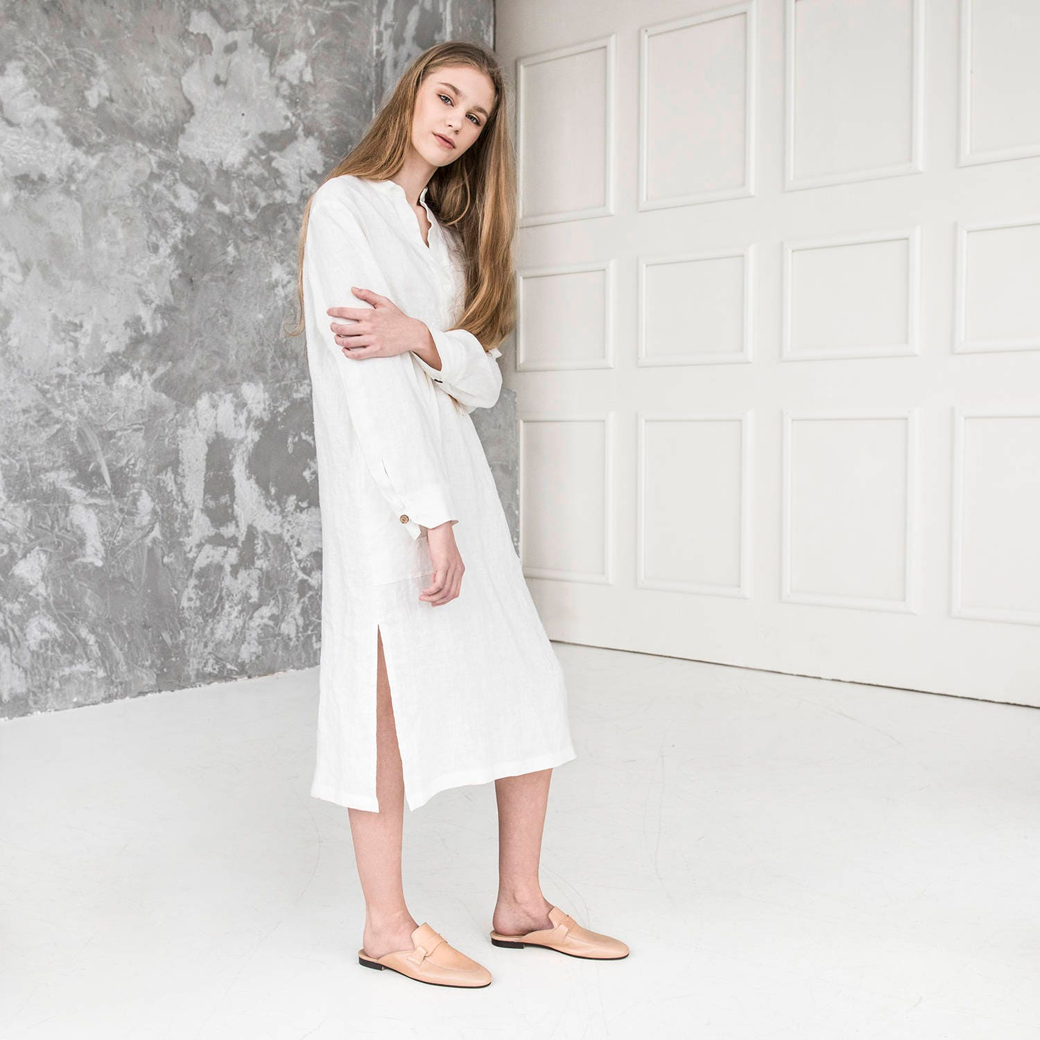 Linen Dress Linen Shirt Dress Long Linen Shirt Long Sleeve Kaftan