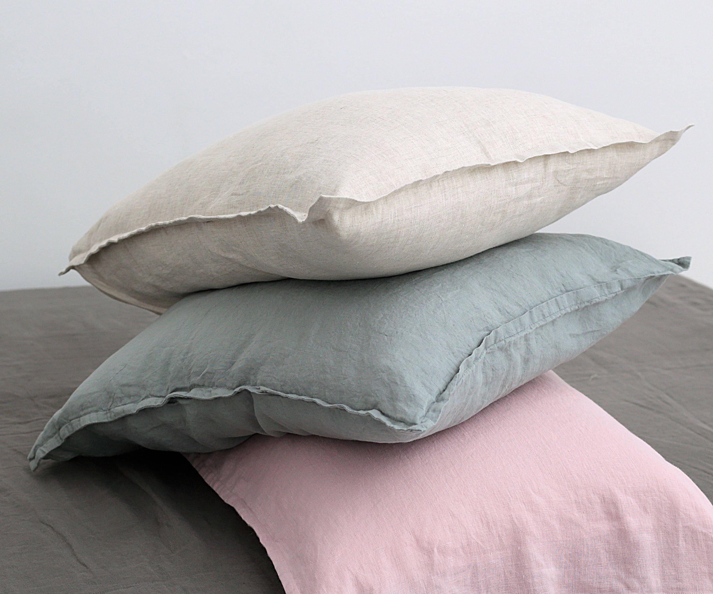 Linen Pillow Shams Pillow Cases Linen Bedding Stonewashed Linen Shams Envelope Closure Pillow Cover Standard Pillow Queen King Size