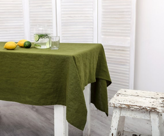 Scandinavian fabric by Almedahls Cotton Canvas Green Square Rectangle Table Linens Tablecloth