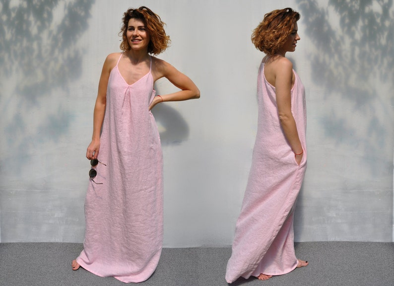 2b0ddd955a91 Full length holiday night out dress   Pale pink loose fit