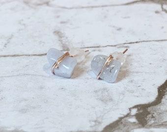 Sterling Silver BLUE LACE AGATE Gemstone Dangle Earrings #6259...Handmade USA