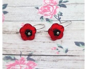 Poppy Earrings, Poppy Jewellery, Poppy Jewelry, Red Poppy, Floral Earrings, Red Flower, Silver, Poppy, Ella Rose, Anniversary Gift, Flower,