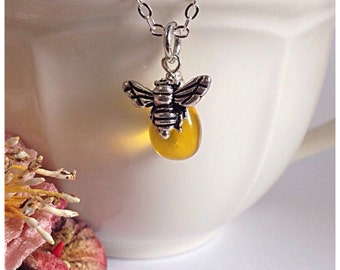 Silver Bee Necklace, Silver Bee Pendant, Honeybee Necklace, Honey Bee Necklace, Bee Jewellery, Bee Charm, Ella Rose, Honeybee Pendant, honey