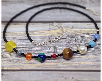 Solar System Necklace, Space Necklace, Galaxy Necklace, Planets Necklace, Science Jewelry, Science Jewellery, Astronomy, Planets,