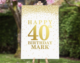 Mans 30th 40th 50th 60th 70th Birthday Welcome Gold Confetti Sign Digital Printable File Any Age Personalized Poster Table Decoration