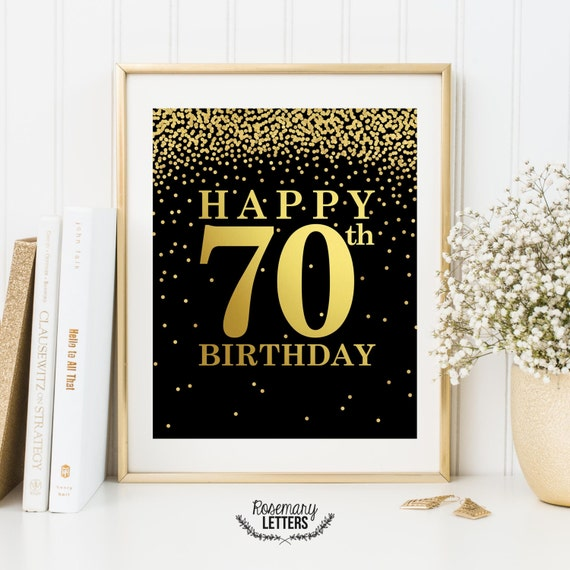 Happy 70th Birthday Print Poster
