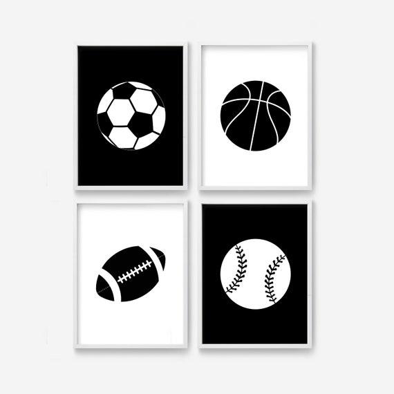 Sports All Star Football Basketball Baseball Soccer Printable Nursery Wall Art
