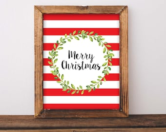Merry Christmas Sign, Mantel Decor, Holiday Print, Christmas Decoration, Christmas Wall Art, Christmas Party Printable, Christmas Home Decor