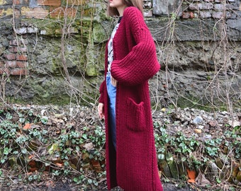 Hand Knit Long Cardigan with Pockets. Maxi Coat with Long Sleeves. Chunky Knit. Oversized Ribbed Sweater