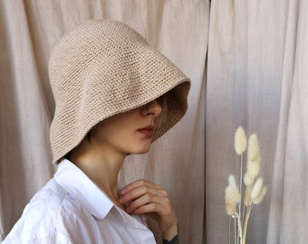 c73d43f5794 Crochet Summer Hat of Organic Cotton Bamboo. Sun Hat. Bucket Hat. Beige  Natural Panama. Bamboo Summer Cap