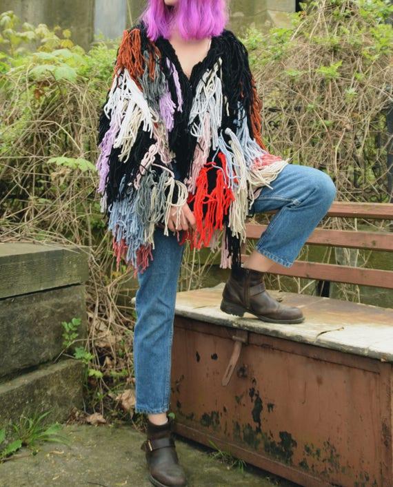 Shaggy Jacket Shaggy Hand Jacket Festival Furry Clothing Boho Cardigan Multicolored Knit Cardigan Knitted 8q8wrH
