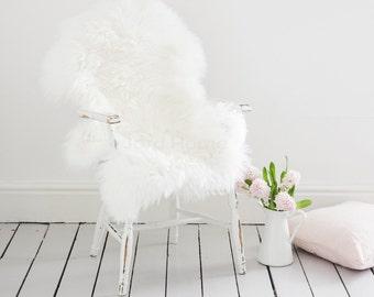 Super Soft Ivory Sheepskin Throw & Rug / Deep pile wool /