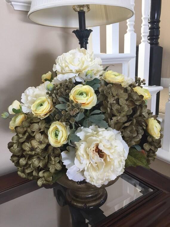 Large Centerpiece Elegant Silk Flower Arrangement Olive Etsy
