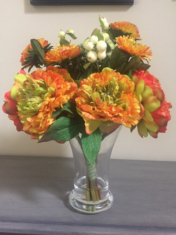 Fall Flowers Silk Flowers In Acrylic Water Mixed Flower And Etsy