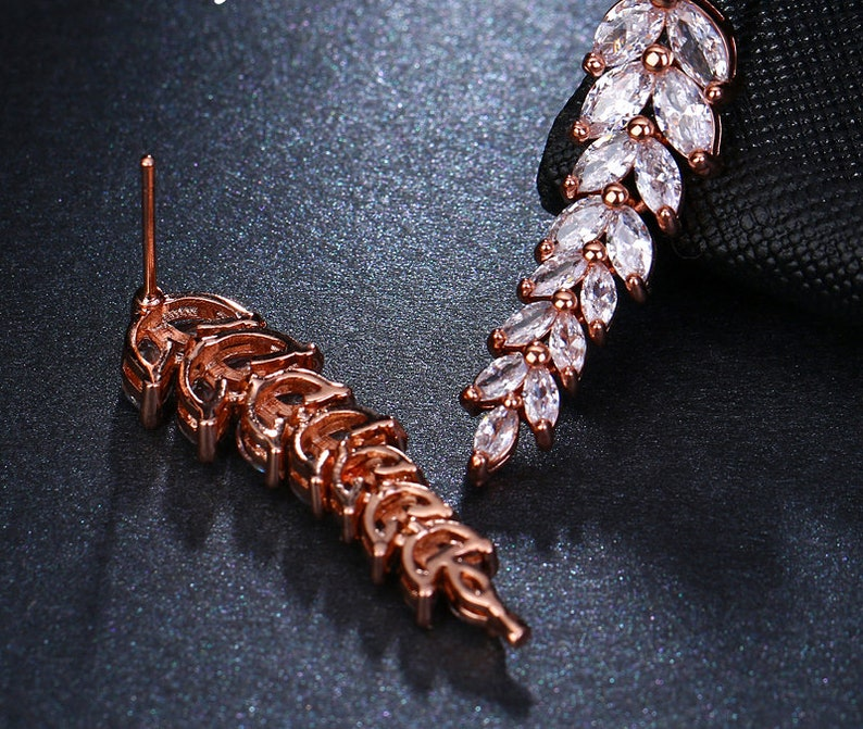 Sparkling Cubic Zirconia Hanging Leaf Earring Rose Gold Gold Silver