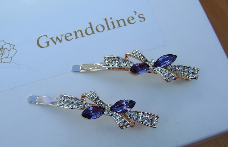 a pair Wedding Bridal Prom Pretty Rose Gold Hair Pins with Crystal and Rhinestone Bow