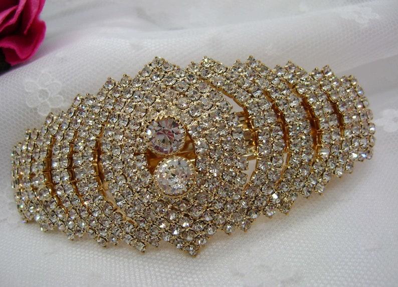 Large Elegant Gold Crystal Wedding Barrette