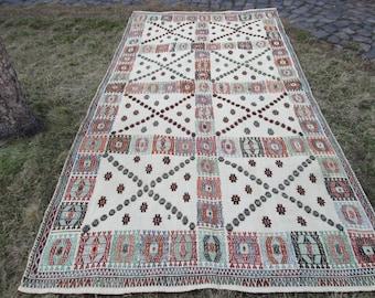 cf126edb4 Turkish Kilim Rug Area Kilim Rug Kelim Big Rug Enbroidered Kilim Vintage  rug hope chest Kilim rug