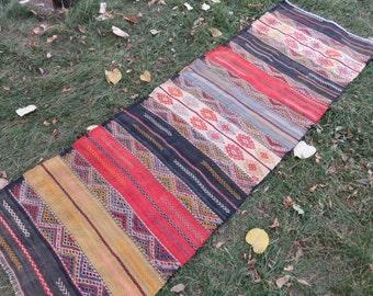 Runner Rug Turkish Wonderful Runner Rug , Cecim Runner Rug , RUG, Colorful Embroidery Rug Anatolia Rug