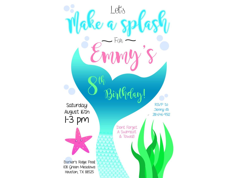 Cola de sirena nadar invitación fiesta | Etsy
