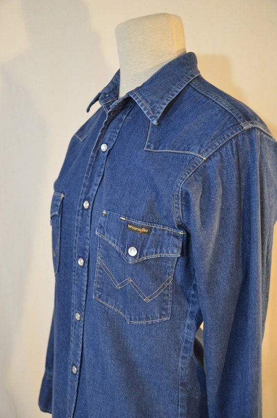 Men's denim shirt // 1990's? // slim fit