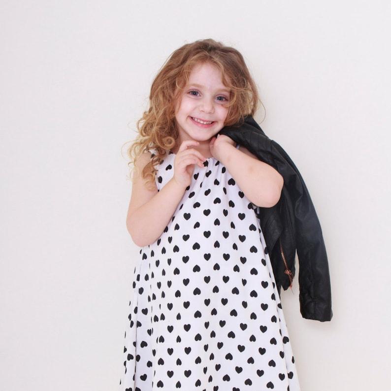 e6e4292ec Girls designed black and white hearts print spinning dress | Etsy