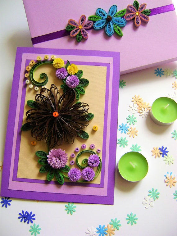 Quilled Greeting Cardspaper Quilling Birthday Cardsquilling Etsy