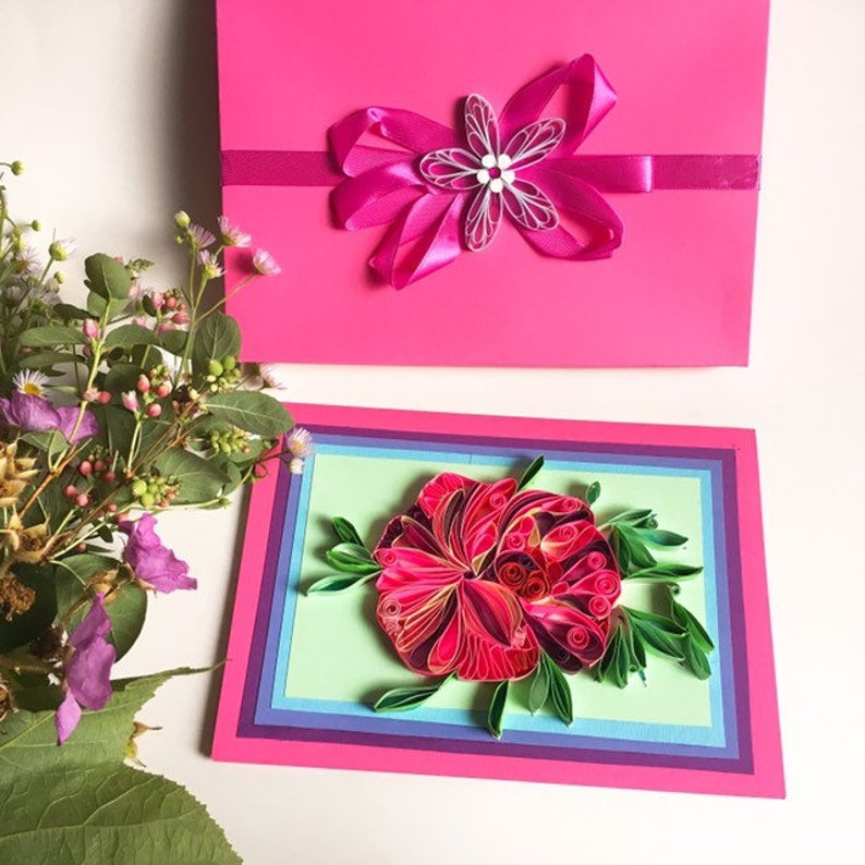 Engagement Housewarming Artworks Quilling Designs,Wedding Spring card,Quilling flowers,Personalised card,Mother/'s Day,Creative Paper