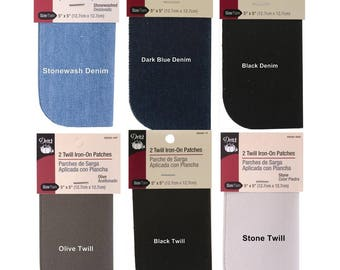 """Dritz Iron-On Patches 5""""X5"""" 2 per Package - Denim and Twill Options"""