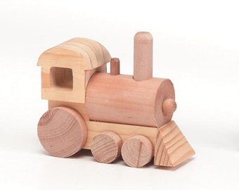 Unfinished Wood Train Engine - 4.5 x 1.75 x 3 inches (1 unpainted engine)