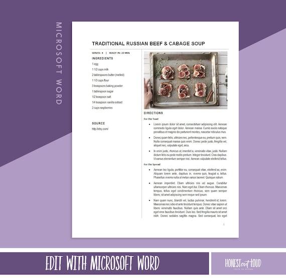 Recipe Template Printable Microsoft Word 8 5x11 Instant Download Cookbook Binder
