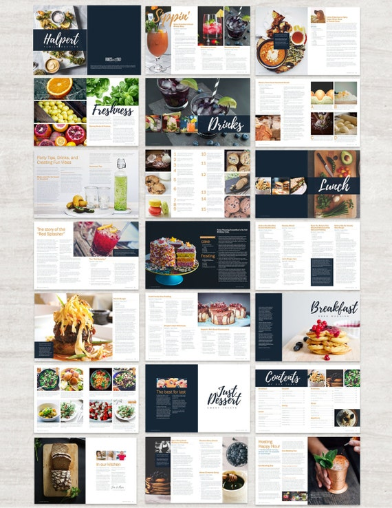 Cookbook and Recipe Template for Adobe InDesign Instant | Etsy