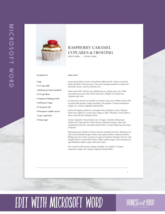 Microsoft Word Recipe Template Printable , US Letter 8.5x11 and  International A4