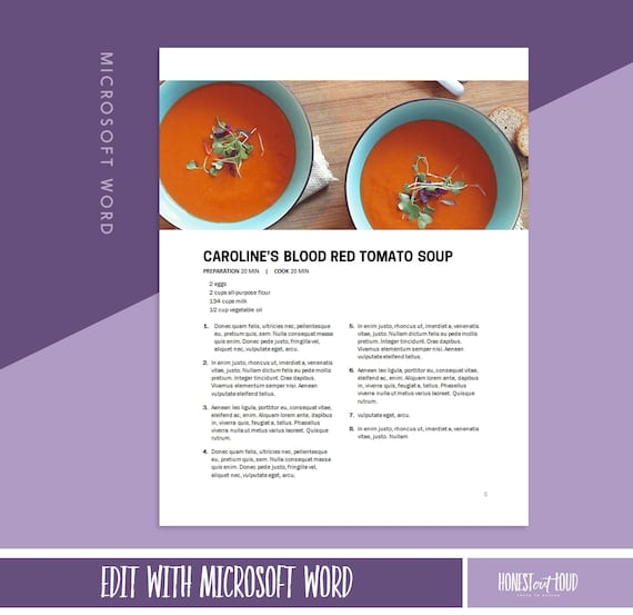 Microsoft Word Recipe Template Printable 8 5x11 And A4 Instant Download Cookbook Template And Recipe Binder