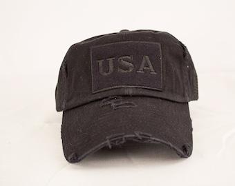 38b12756243 Vintage USA Hat - Black
