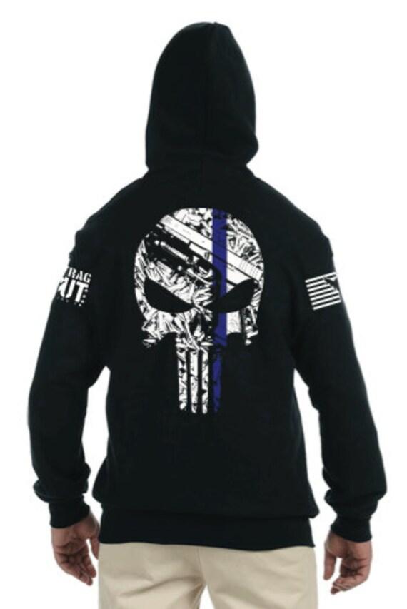 Thin Blue Line Punisher Zip up Hoodie oX1p2U