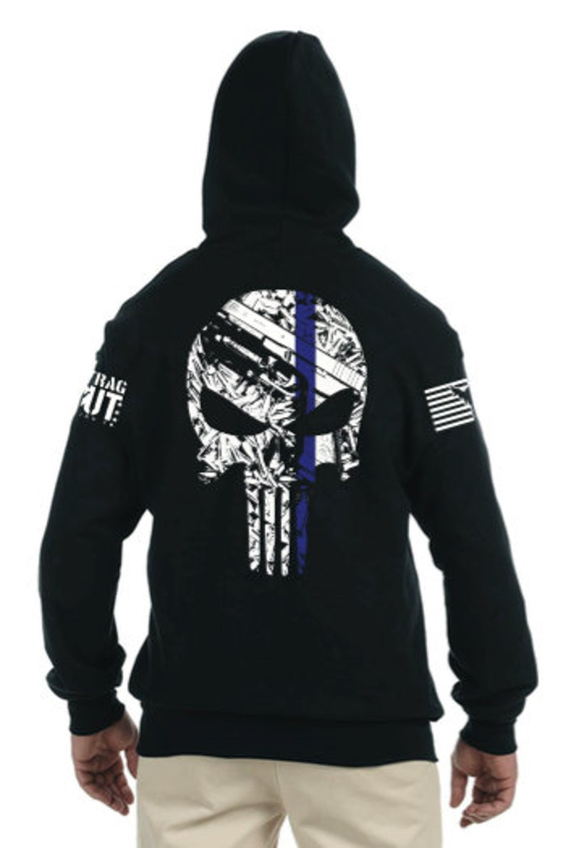 2653e179799 Thin Blue Line Punisher Zip up Hoodie