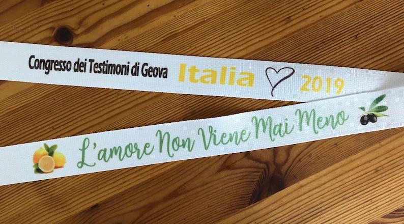 Cordino tracolla in tessuto Lanyard Congresso dei Testimoni di Geova L/'amore Non Viene Mai Meno Badge holder Italia