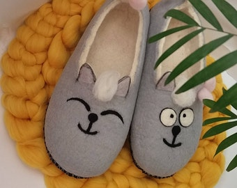 385009c2687 Felted slippers Cat slippers Funny slippers Wool felted slippers Cat  lover s gift Wool felt slippers Cats Lady s indoor shoes Felt cat shoes