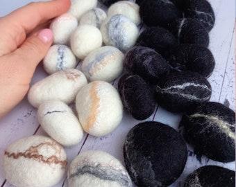 wool decorations felt rocks Flat mint felted wool pebbles  beads Perfect for room decoration Wool ornaments felt stones soft beads