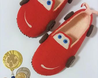 55c571564e6 Felted slippers RACING CHAMPION Wool felt slippers Car slippers Men s felt shoes  Funny slipper Car lover s gift Driver s gi