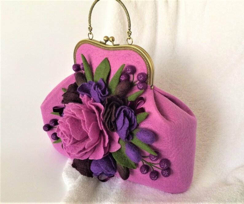 cf8f8ee783 Felted bag LAVANDA Felt flower bag Felted purse Felted flowers