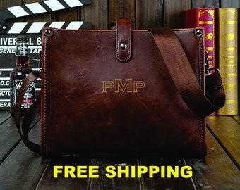55966947b Personalized custom laser engraved monogrammed vintage style men man  messenger leather groomsmen gift satchel laptop bag business briefcase
