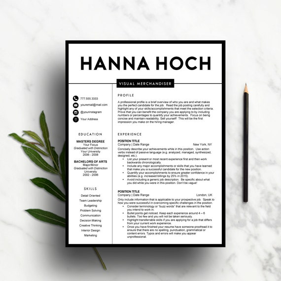 Creative Resume Template For Word Pages 1 And 2 Page Etsy